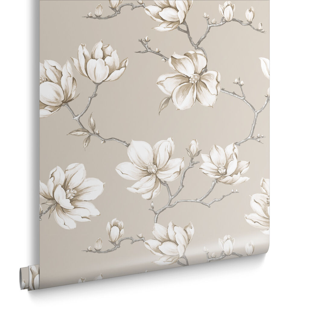 white and gold floral wallpaper - photo #38