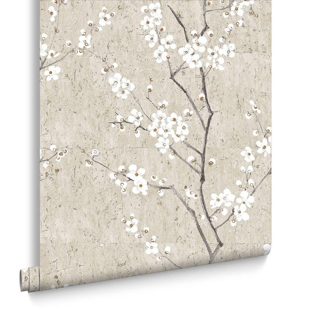 pale gold sakura wallpaper - Flower Wallpaper For Walls