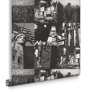 New York Black and White Wallpaper, , large