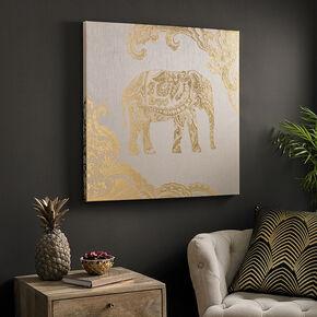 Golden Henna Elephant Fabric Canvas, , large