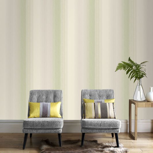 Chambray Stripe Spring Green Wallpaper, , large