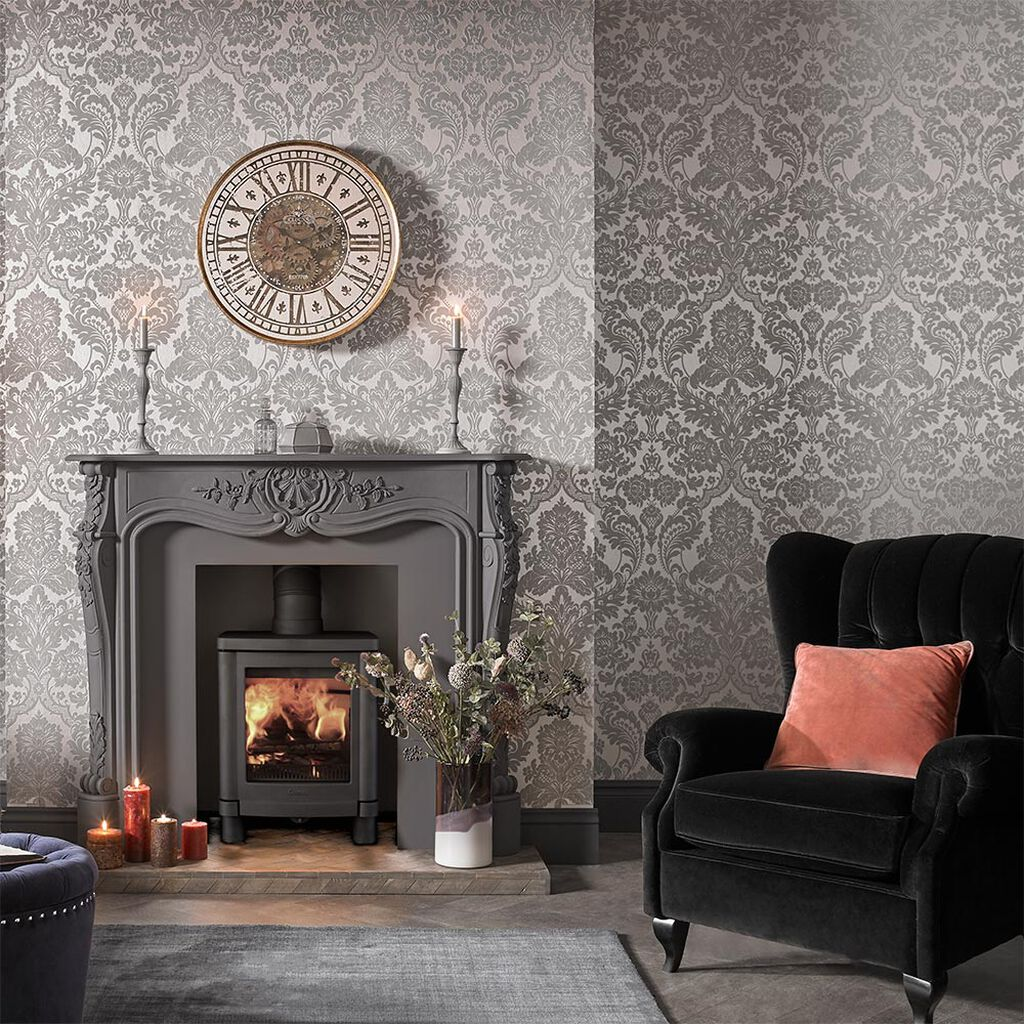 Gothic damask flock grey silver wallpaper grahambrownuk for Grey silver wallpaper living room