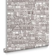 Tudor Houses Black and White Wallpaper, , large