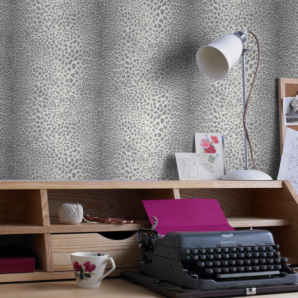leopard grey wallpaper graham brown. Black Bedroom Furniture Sets. Home Design Ideas