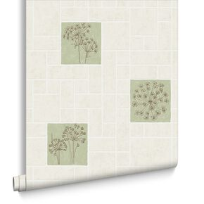Parsley Cream and Green Wallpaper, , large