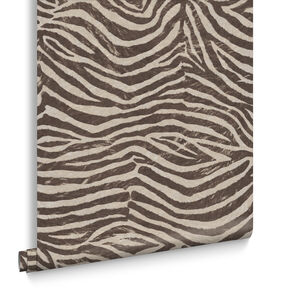 Zebra Brown and Beige Wallpaper, , large