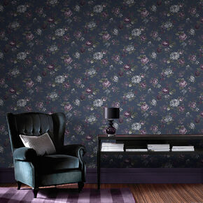 Large Muse French Navy Wallpaper