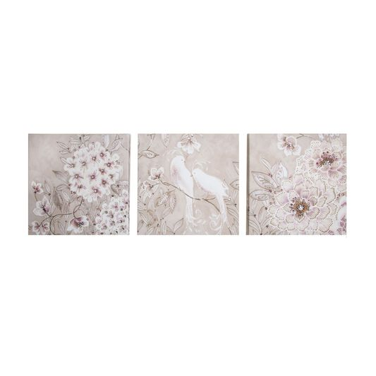 Love Bird Glitter Branch Printed Canvas, , large