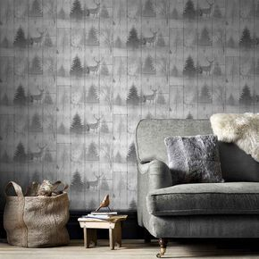 Highland Plank Grey Wallpaper, , large