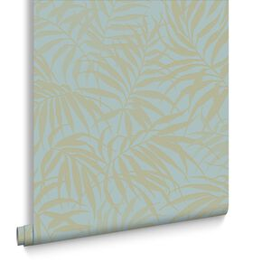 Tropic Aqua and Gold Wallpaper, , large