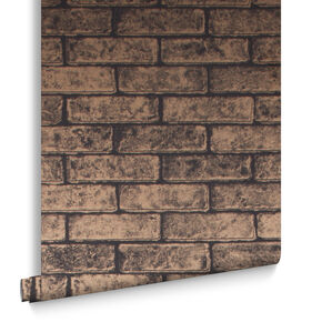 Metallic Brick Bronze Black Wallpaper, , large