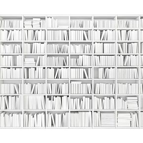 Library White Wall Mural, , large