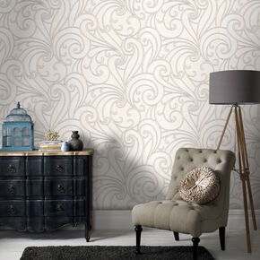 Saville White Wallpaper, , large
