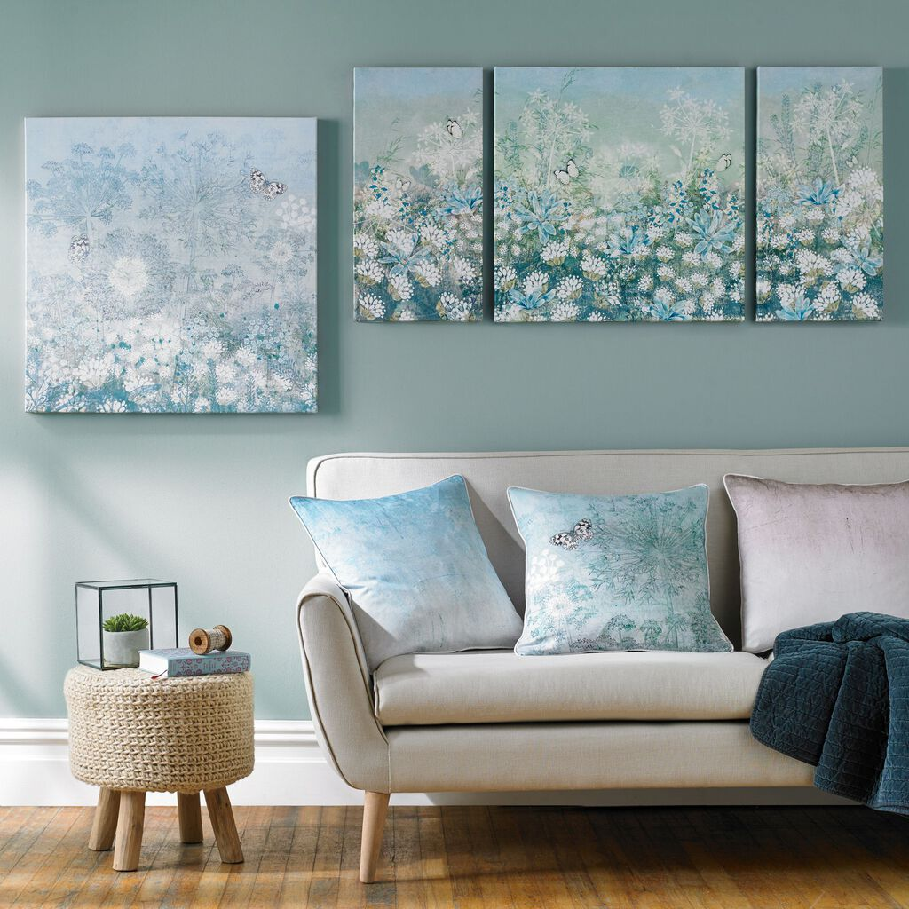Spring floral printed canvas grahambrownuk for Duck egg living room ideas