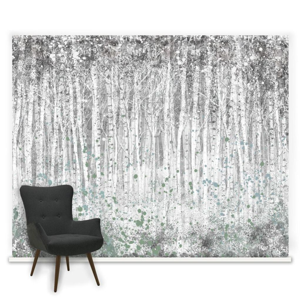 Couture painterly woods mural grahambrownuk for Black wall mural