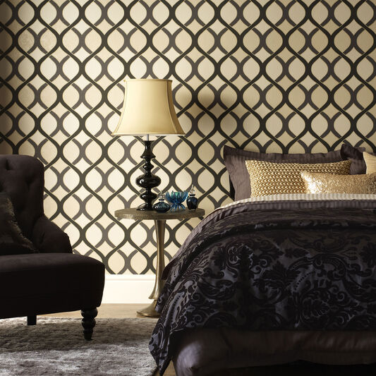 Highbury Black and Gold Wallpaper, , large