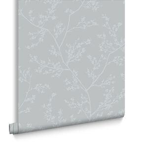 Springtime Grey & Silver Behang, , large