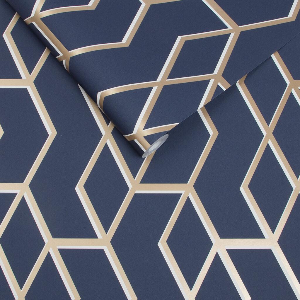 Archetype navy gold wallpaper grahambrownuk for Dark blue and gold wallpaper