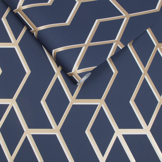 Archetype navy gold wallpaper grahambrownrow - Navy gold wallpaper ...