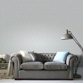 Oiti Taupe Bleu Wallpaper, , large
