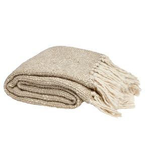 Metallic Knit Natural Throw, , large