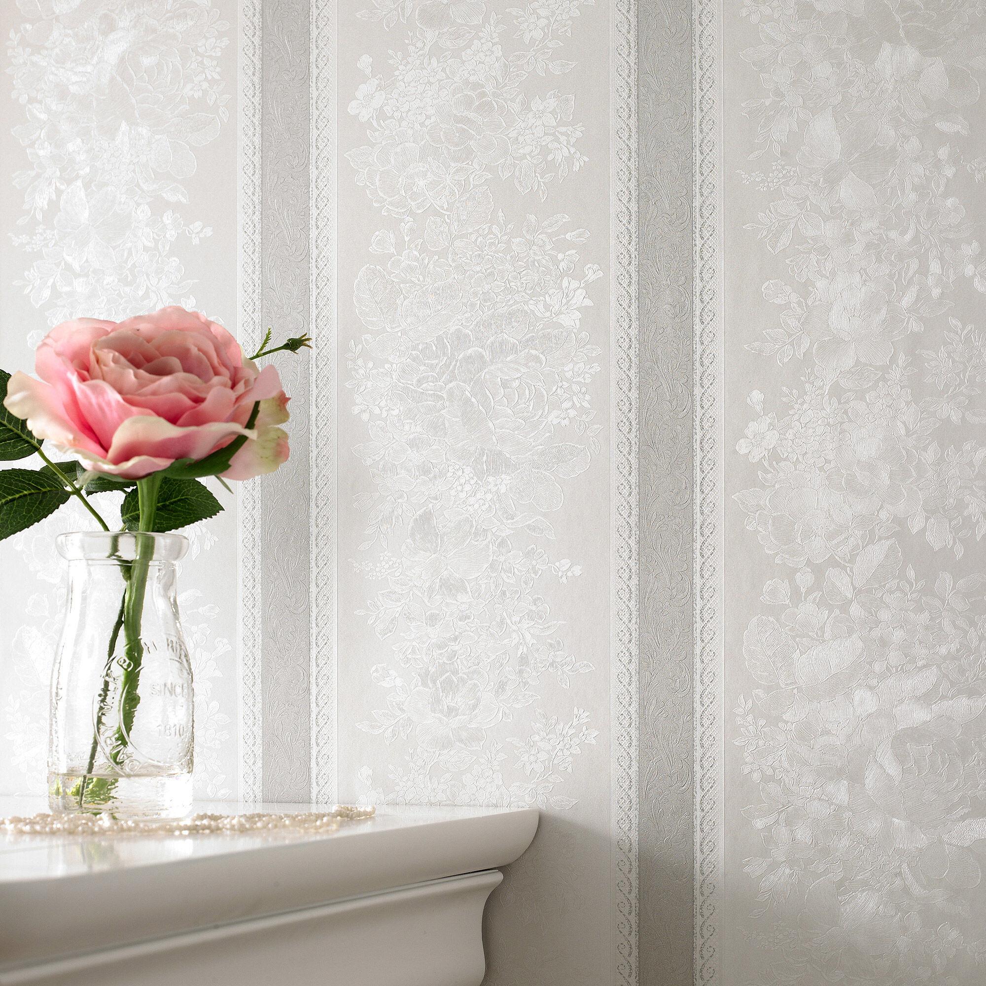 Floral Stripe Silver Mist Wallpaper, ...