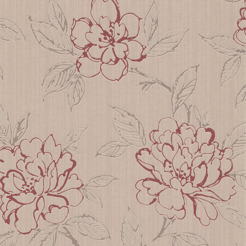 Bloom Beige And Red Wallpaper GrahamBrownUS