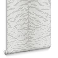 Tiger White and Silver Wallpaper, , large