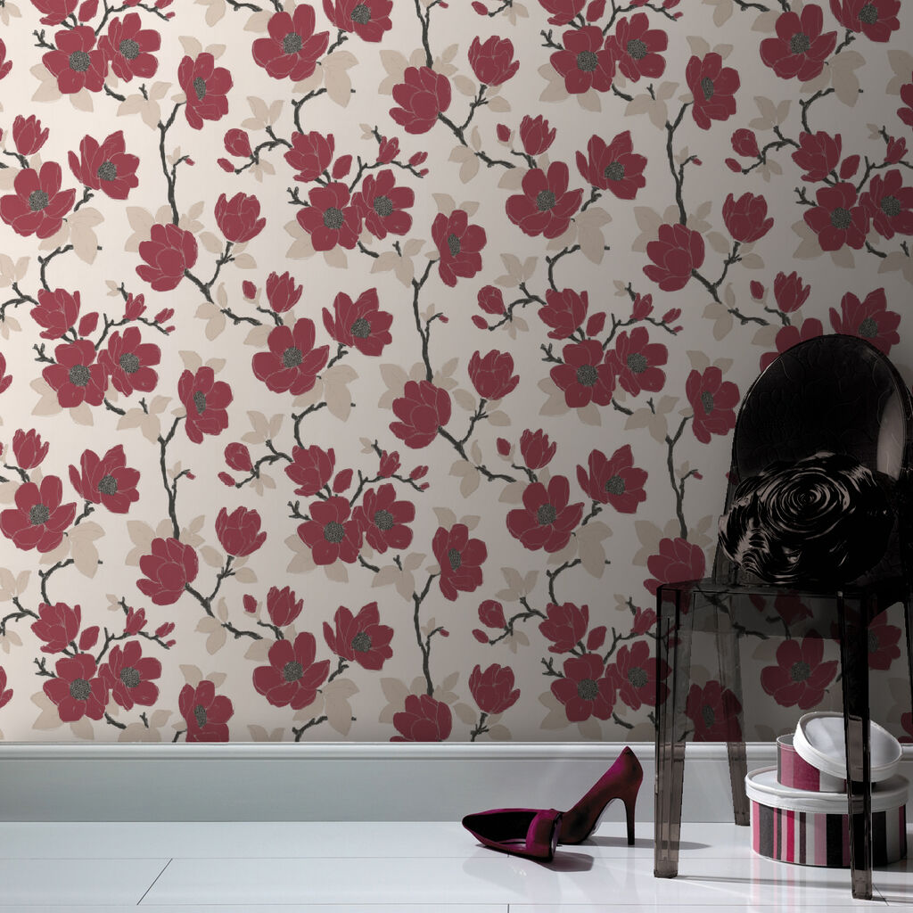 Elinor Red Wallpaper GrahamBrownUK