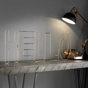 Rose Gold Hello Metal Art, , large