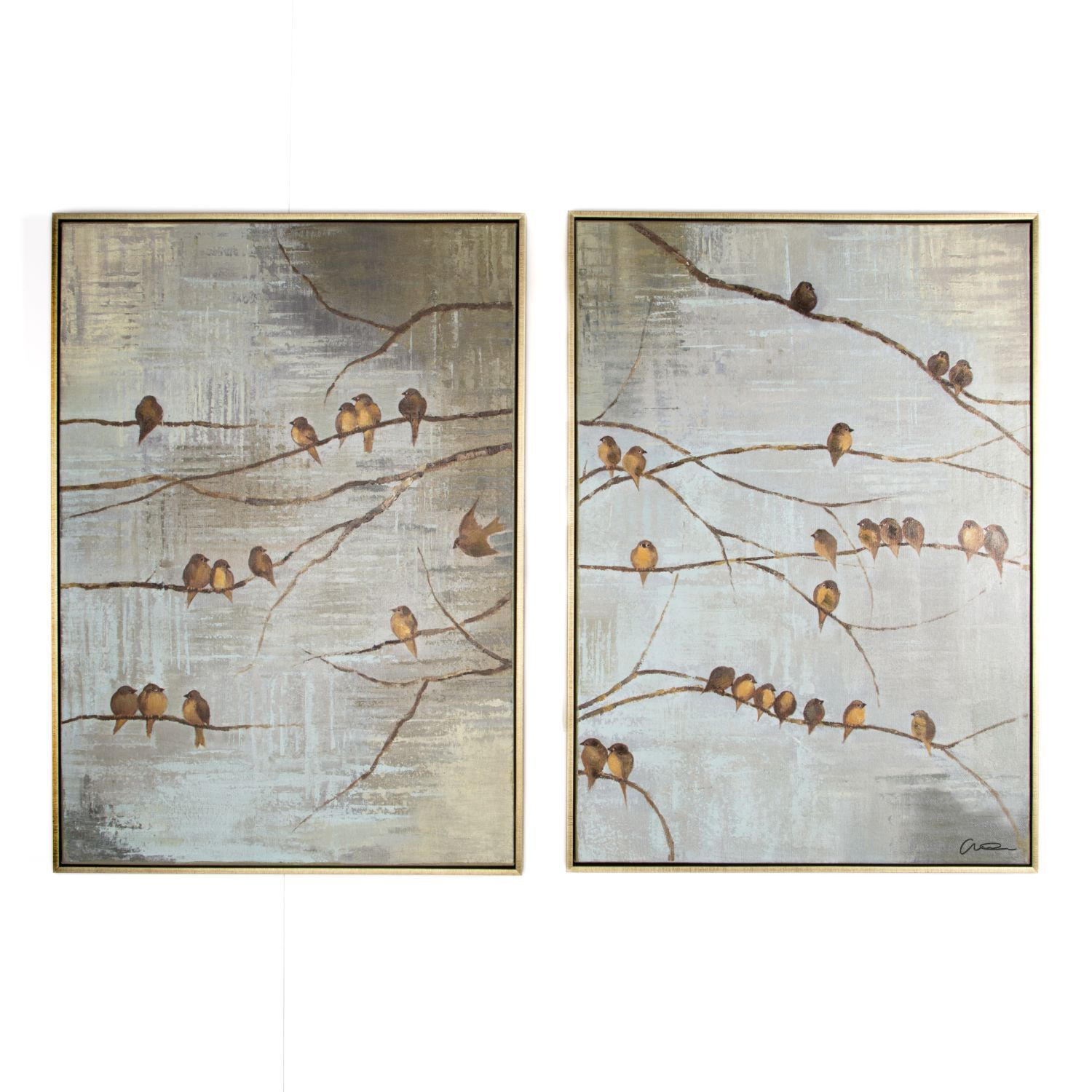 Flock Of Birds Handpainted Framed Canvas Wall Art , ...