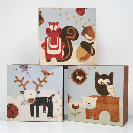 Graham & Brown Forager Set of 3 Canvas Blocks - 15x15cm , , large