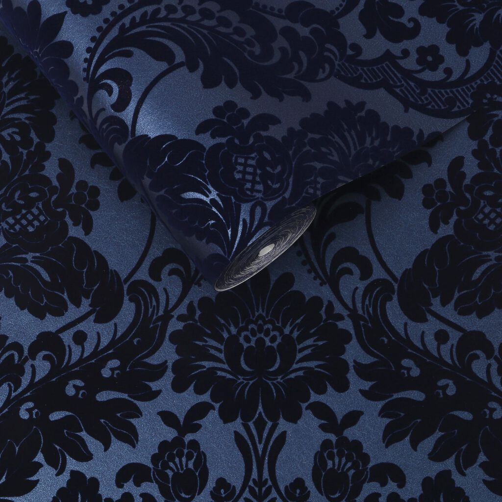 gothic damask flock colbalt wallpaper grahambrownuk. Black Bedroom Furniture Sets. Home Design Ideas