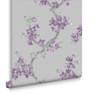Mercutio Plum and Grey Wallpaper, , large