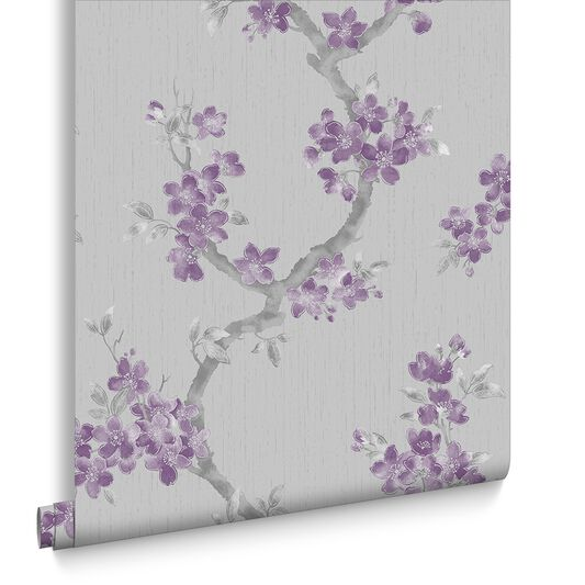 Mercutio plum and grey wallpaper graham brown for Tapete lila grau