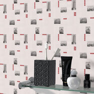 Italia Tile Red and White Wallpaper, , large