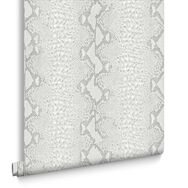 Snake White and Silver Wallpaper, , large