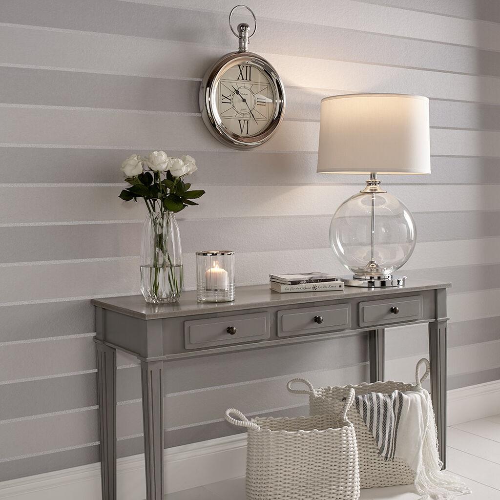 Baroque Bead Stripe Platinum Wallpaper