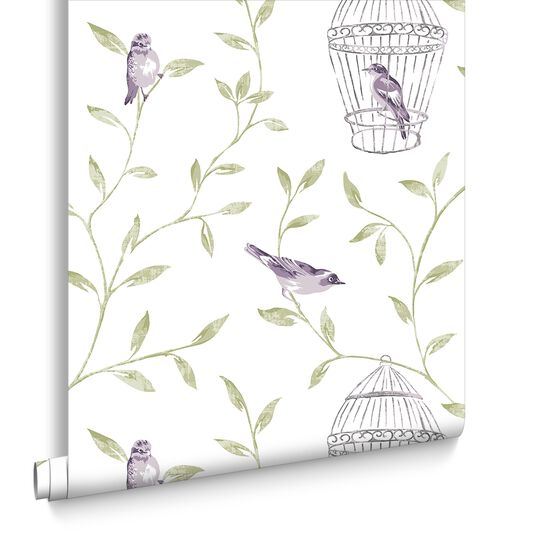 Birds and Cages Amethyst Wallpaper, , large