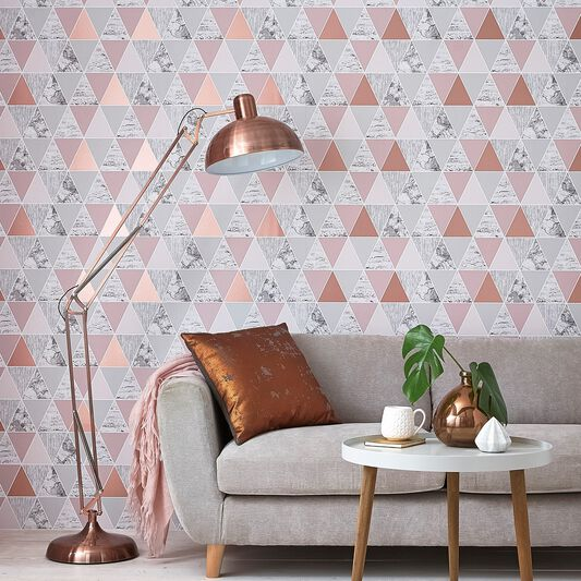 23 Best Copper And Blush Home Decor Ideas And Designs For 2019: Rose Gold Reflections Wallpaper