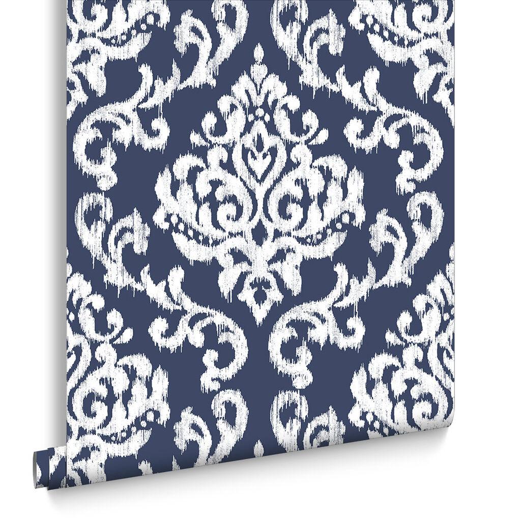 Wanders blue wanders forest flocked wallpaper damask wallpaper - Indian Ink Damask Royal Blue Wallpaper