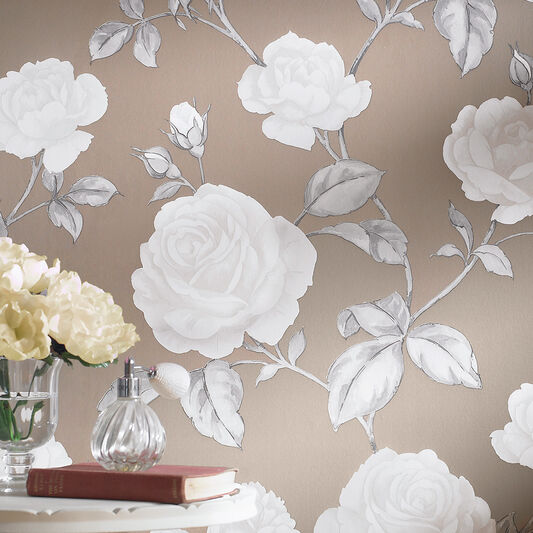 Countess Taupe Wallpaper, , large