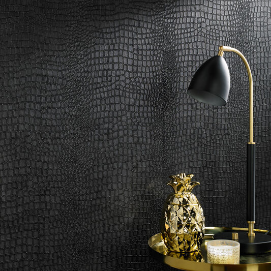 Black Wall Paper Decor : Crocodile black wallpaper graham brown