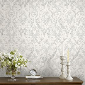 Royale Silver and White Wallpaper, , large