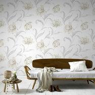 Watercolour Floral Cream Wallpaper, , large