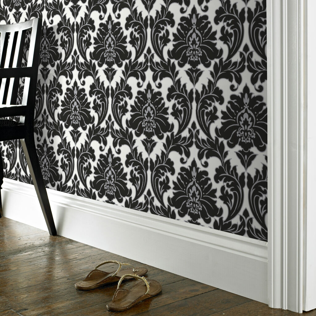 Majestic black and white wallpaper graham brown for Black bedroom wallpaper designs