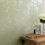 Spring Blossom Green Shimmer Wallpaper, , large