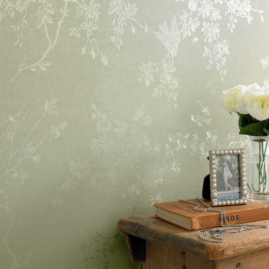 Spring blossom green shimmer wallpaper graham brown for Green bedroom wallpaper