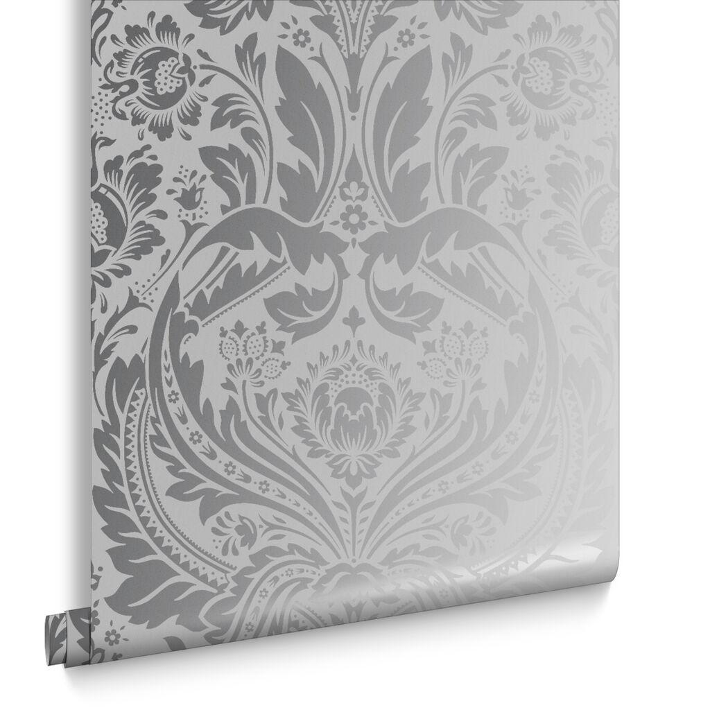 Desire silver wallpaper metallic wallpaper graham brown for Foil wallpaper uk