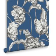 Harem Tulips Blue Wallpaper, , large